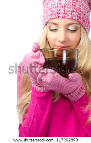 beautiful blonde woman holding cup of drink over white - stock photo