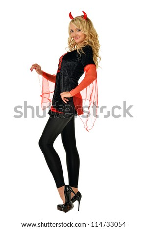 Beautiful blonde woman in carnival costume of devil. Isolated image.