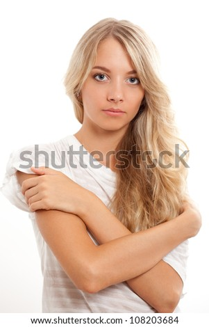 beautiful blonde woman portrait over white - stock photo