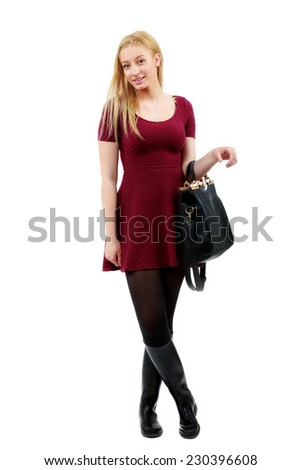 beautiful blonde woman posing in studio - stock photo
