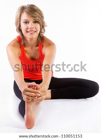 beautiful blonde woman practicing fitness