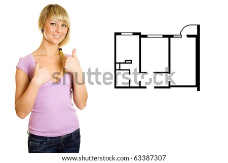 Beautiful blonde woman showing their appreciation for work well done. Approves the plan of the apartment