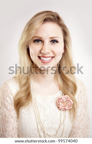 Beautiful Blonde woman smiling Portrait - stock photo