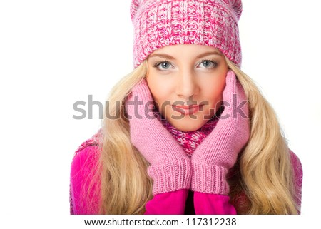 beautiful blonde woman wearing knitwear over white background - stock photo
