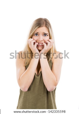 Beautiful blonde woman with a fear expression, isolated over white background - stock photo