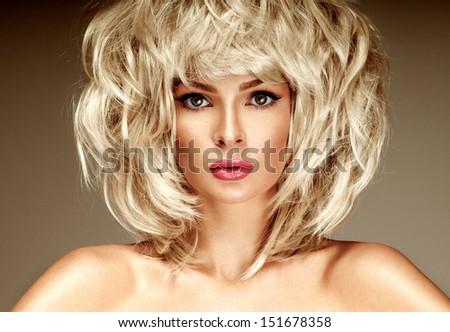 beautiful blonde  woman with bright lipstick - stock photo