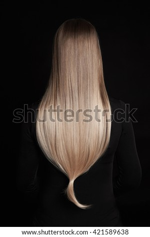 beautiful blonde wonderful hair.back of girl with Blond Hair over back background - stock photo
