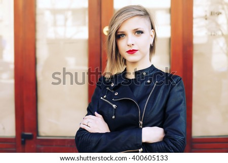 Stock Photo Beautiful Blonde Young Woman Wearing Fashionable Clothes Black Leather Jacket Walking On The on Zipper Lips Vector Art