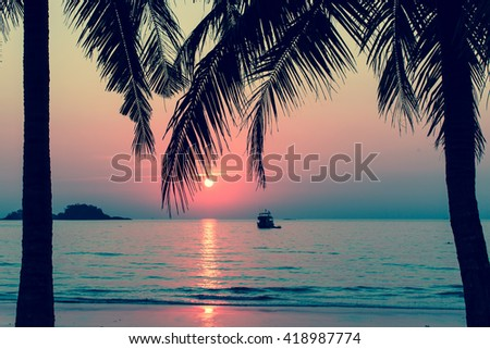 Beautiful bloody sunset on a tropical beach, palm trees silhouettes.