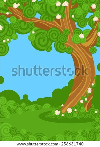 Beautiful blooming tree in a garden (raster version) - stock photo