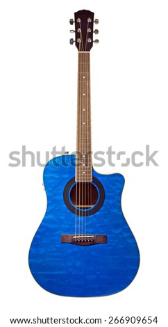 Beautiful blue acoustic guitar isolated on white - stock photo