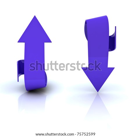 Beautiful blue arrows in both directions, up and down. - stock photo