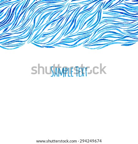 Beautiful blue background with waves,  illustration