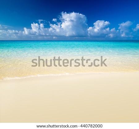 beautiful blue caribbean sea beach - stock photo