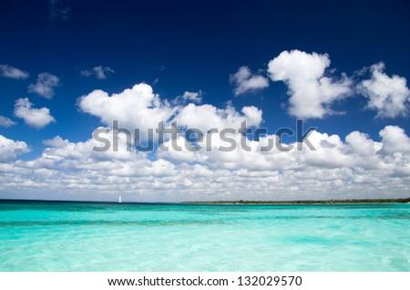 beautiful blue caribbean sea water - stock photo