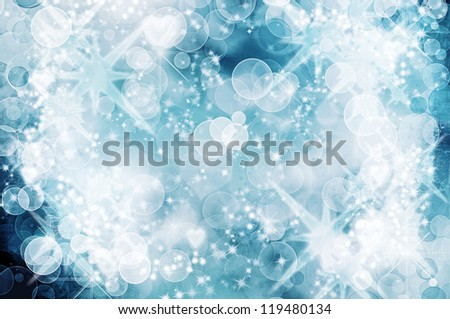 beautiful blue Christmas bokeh background - stock photo
