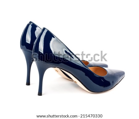 Beautiful blue classic women shoes isolated on white background - stock photo