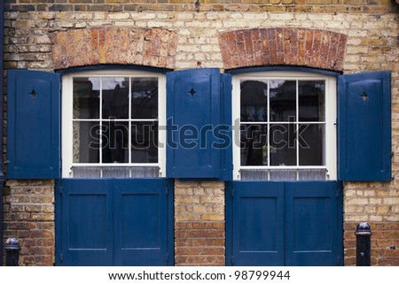 Beautiful blue doors, detail of London architecture.
