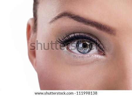 Beautiful  blue eye, close up - stock photo
