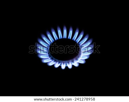 Beautiful blue flame natural gas isolated on black background - stock photo