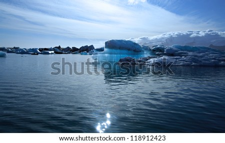 Beautiful blue iceberg on Jokulsarlon lagoon Iceland