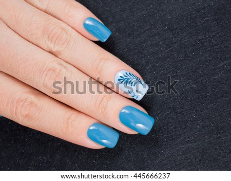 Beautiful blue manicure