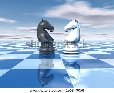 beautiful blue, reflective abstract background with chess horses white and black, chessboard and sky - stock photo