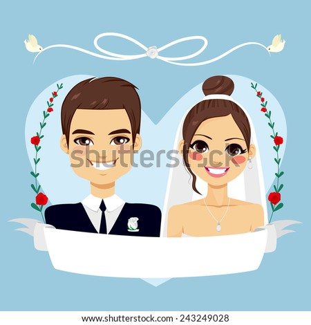 Beautiful blue Save The Date design composition showing brunette couple portrait with empty banner and birds flying holding white lace - stock photo