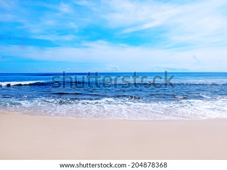 beautiful blue sea - stock photo