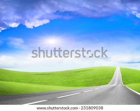 beautiful blue shining sky and leaving to horizon road  - stock photo