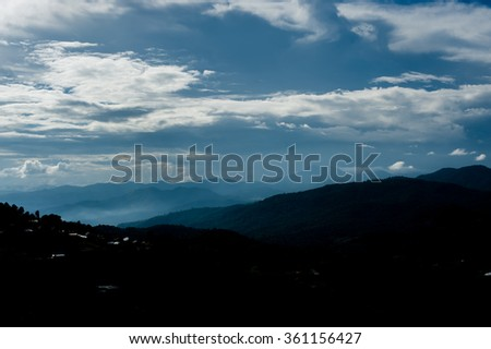Beautiful blue sky and hill mountain at Mon Cham (Mon Jam), Chiangmai, Thailand