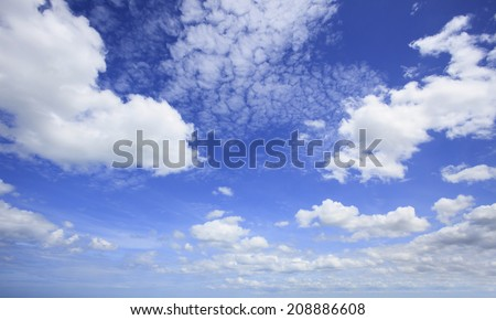 beautiful blue sky and white clouds with wide angle camera lens use as nature background and free copy space backdrop - stock photo