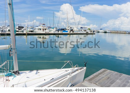 Beautiful Blue Sky at harbor pier use as wallpaper or background
