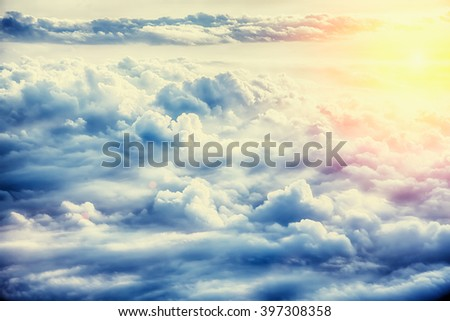 Beautiful blue sky background with clouds - stock photo