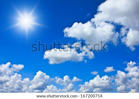 Beautiful blue sky background with white clouds