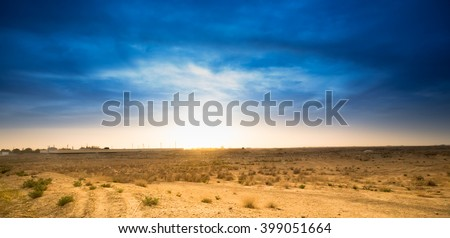 Beautiful blue sky in the desert - stock photo