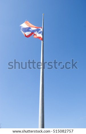 Beautiful blue sky over flagstaff, flag and white clouds ready use for background