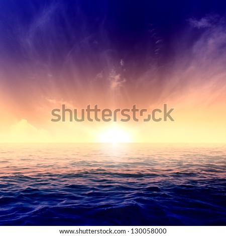 Beautiful blue sky over the sea at sunset - stock photo