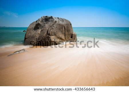 Beautiful blue sky view over seascape of Terengganu, Malaysia. Soft focus due to long exposure shot. Copy Space Area
