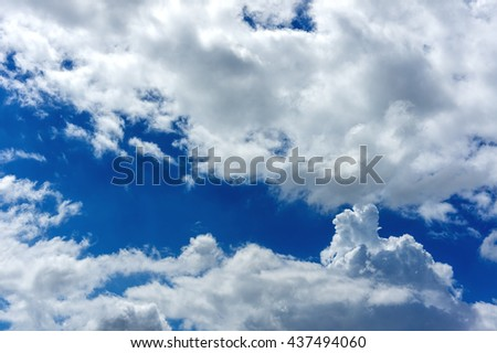 Beautiful blue sky white cloud in summer natural background.