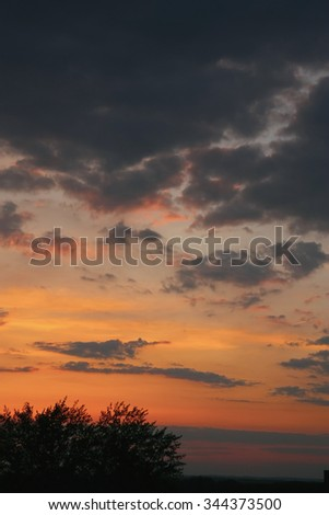 Beautiful blue sky with clouds, air nature - stock photo