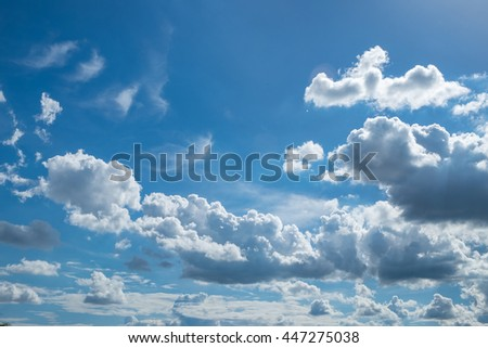 beautiful blue sky with clouds background.Sky clouds.Sky with clouds weather nature cloud blue - stock photo