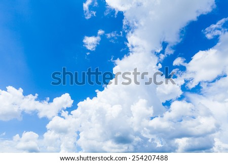 Beautiful blue sky with clouds background template with some space for input text message, sky daylight, natural sky composition - stock photo
