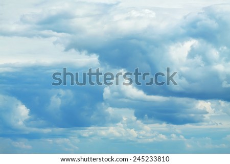 beautiful blue sky with clouds. nature background - stock photo