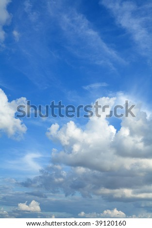 beautiful blue sky with light colods of various types (cumulus and cirrus)