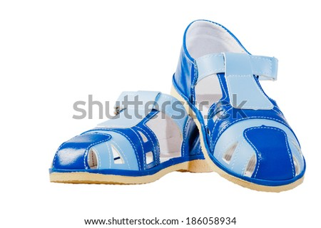 beautiful blue summer sandals on a white background - stock photo