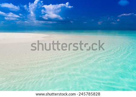 beautiful blue sun sea tropical nature background holiday luxury  resort island atoll about coral reef - stock photo