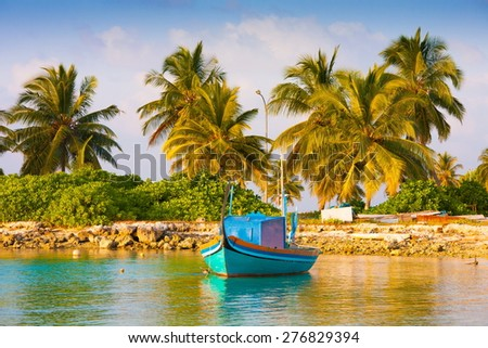 beautiful blue sun sea tropical nature background holiday luxury  resort island atoll about coral reef boat amazing  fresh  freedom snorkel adventure. Coconuts   - stock photo