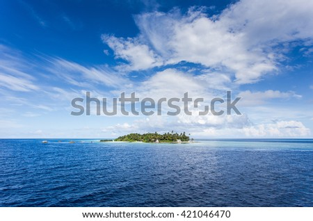 beautiful blue sun sea tropical nature background holiday luxury resort island atoll about coral reef amazing fresh freedom snorkel adventure day. Maldives island - stock photo