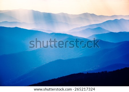 Beautiful Blue Sunrise on the Great Smoky Mountains National Park in Tennessee - stock photo